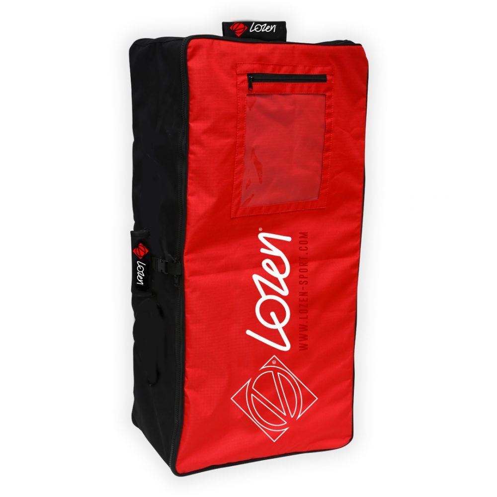 Sac de transport pour Stand Up Paddle Lozen Rouge vue d'angle avant